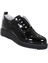NERO GIARDINI - Zapato Oxford negro de charol, made in Italy, con inserción elástica, Niña, Chica, Mujer