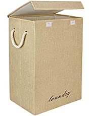 HOKIPO 72L Foldable Large Fabric Laundry Bag with Lid and Rope Handles - (Beige)