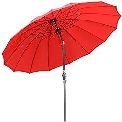 Angel Living 270cm Rond Parasol Inclinable Parasol au Aluminium et Polyester Parasol pour Jardin (Rouge)