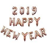 BESTOYARD Happy New Year Folie Ballons 2019 Anzahl Brief Luftballon für Party Dekorationen 16 Zoll (Rosengold)