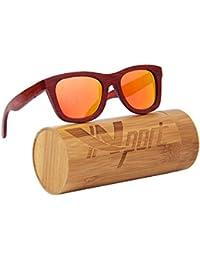 f303ad5625 ynport crefreak al aire libre bamboon gafas de sol rojo marco de madera  wayfrarer gafas gafas