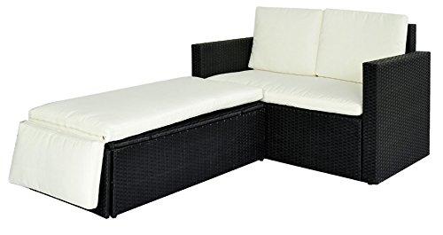 POLY RATTAN Lounge Gartenset Sofa Garnitur Polyrattan Gartenmöbel (Schwarz) - 5