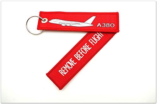 Preisvergleich Produktbild Schlüsselanhänger 'REMOVE BEFOE FLIGHT' -- Airbus A380-800 -- inkl. Schlüsselring