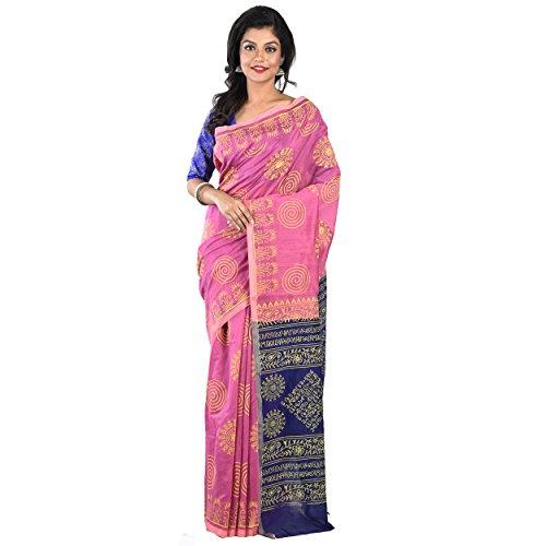 Soma's Boutique Silk Cotton Made Phulkari Saree For Women's - Pink