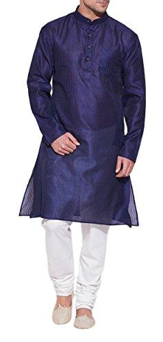 SmaragdblauerSeideKurtafürMänner-HerrenindischeMode-aus PolyesterDupion-HandwerkerinHandarbeitinIndien (Georgette Kurta)