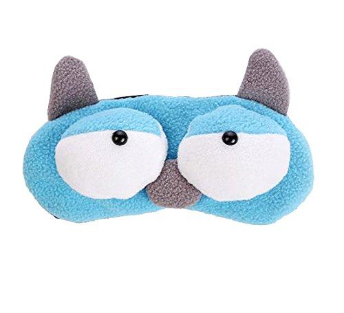 Augenmaske von Fablcrew Schlafmaske Schlafbrille Maske Verbessere die Schlafqualität Niedliches Cartoon-Muster Blau Plüsch-Oberfläche Eisbeutel enthalten 20 * 7,5 cm 1 Stück (Plüsch Umweltfreundliche)
