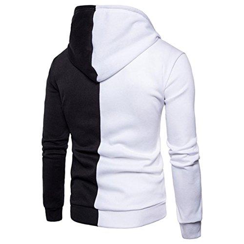 Bluestercool Felpa Uomo Cappuccio Zip Cotone Giacca Uomo Invernale Casual Sweatshirt Bianco