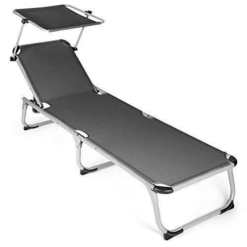 Park Alley - Chaise longue avec Pare-soleil - Facilement pliable - Design sobre et intemporel - Tissu facile d'entretien adapté pour l'Extérieur - Plusieurs Coloris disponibles