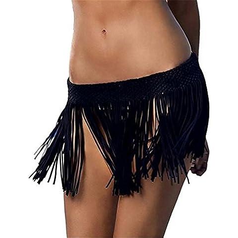 YARBAR Mujeres elásticos de la cintura de la falda de ganchillo de la borla con flecos Mini playa cubre la