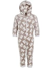 Camille - Pijama Infantil de una Pieza con Capucha - Forro Polar Supersuave - Estampado de Ositos - Color visón