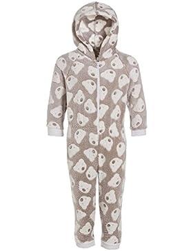 Camille - Kinder Schlafanzug-Einteiler mit Kaupuze - extra weiches Fleece-Material - Bären-Motiv - Grau