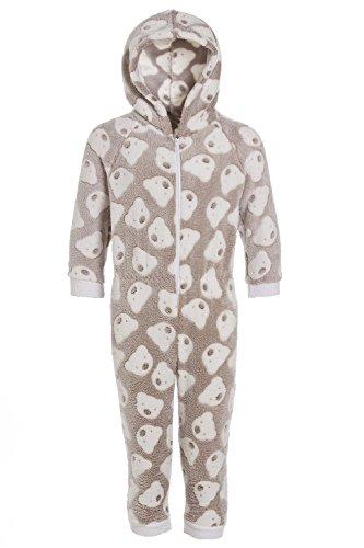 Camille - pigiama intero bambino in morbido pile con cappuccio e motivo con orsi - beige 9-11 yrs