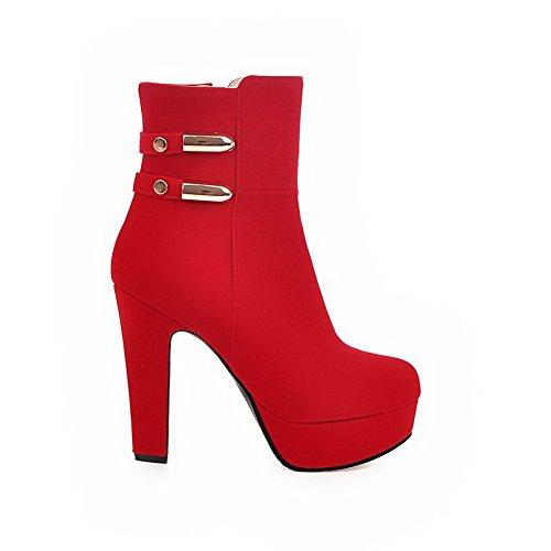 AgooLar Damen Reißverschluss Hoher Absatz Niedrig-Spitze Stiefel, Rot, 37