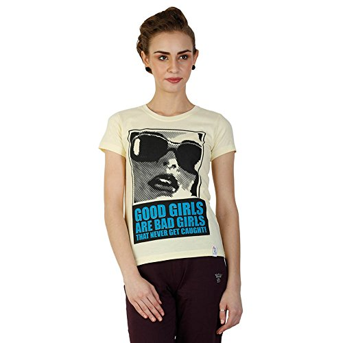 Duke Stardust Lemon Round Neck Half Sleeves Graphic Printed Cotton Blend Women's Casual T-shirt and Top  available at amazon for Rs.249