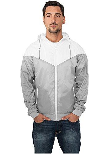 Urban Classics Herren Arrow Windrunner Jacke, Gry/Wht, XXX-Large Front Zip Windbreaker Jacke