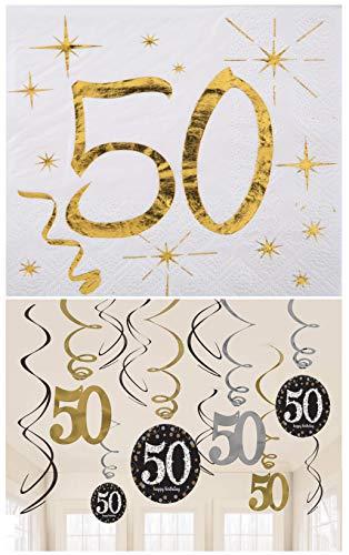 Amscan / Santex Partyset zum 50sten Geburtstag / Servietten 50 mit Goldenem Schriftzug 25cm x 25cm + 12 Teilige Swirl / Dekospiralen 50