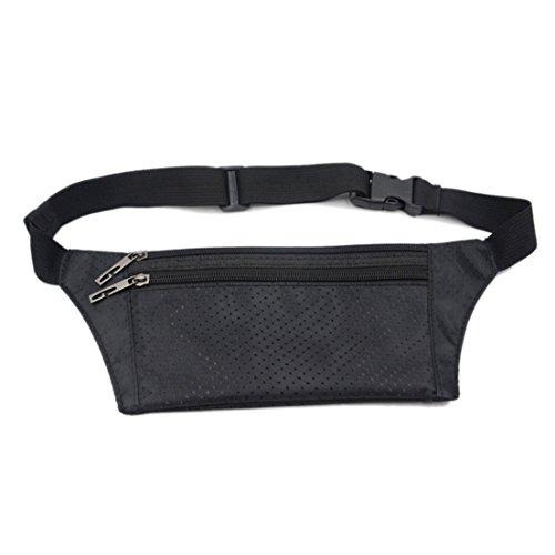 SAMGOO Unisex Bauchtasche Gürteltasche TALKY Hüfttasche Flach Hidden Pocket für Außen Joggen Wandern schwarz