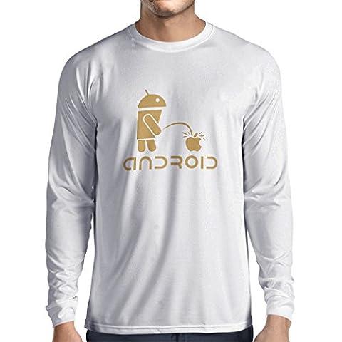 N4247L T-Shirt mit langen Ärmeln Funny Robot and apple (X-Large White Gold)