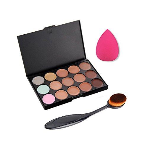 Gracelaza 1 Pcs Ovale Pinceaux Maquillage Trousse, 1 Éponge Fondation Puff + 15 Couleurs Palette de Maquillage Correcteur Camouflage Crème Cosmétique Set