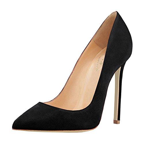 EKS Paire de chaussures en cuir vernis à talon aiguille pour femme Schwarz-Faux Wildleder