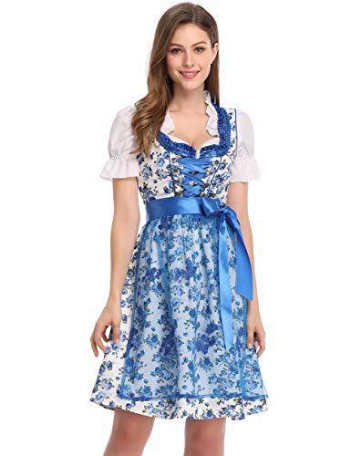 Clearlove Dirndl 3 tlg.Damen Midi Trachtenkleid für Oktoberfest,Spitzen Kleid&Bluse&Schürze, Blau,Rot (42, Blau Blumen)