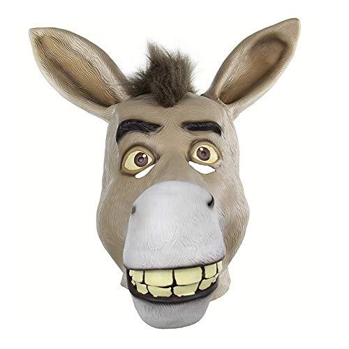 JINFAN Halloween-Maske, Latex Maske Für Halloween Tier Maske Lustige Esel Kopf Shrek Maske Männer Und Frauen Streich Maske Gesicht Scary Halloween Kostüm Party Bar Maskerade