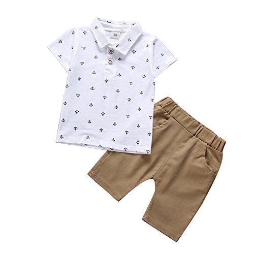 De feuilles Baby Junge Sommer Baumwolle Kurzarm T-Shirt und Shorts Bekleidungsset Set Anker Druck Hemd