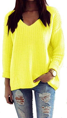 Mikos*Damen Pullover Winter Casual Long Sleeve Loose Strick Pullover Sweater Top Outwear (627) *Hergestellt in der EU - Kein Asienimport* (Gelb Neon) -