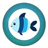 Kindermöbelgriff Möbelknopf Möbelgriff Möbelknauf Jungen hellblau dunkelblau blau Massivholz Buche - Kinder Kinderzimmer Fisch blau hellblau gestreift Meerestiere maritim - petrol