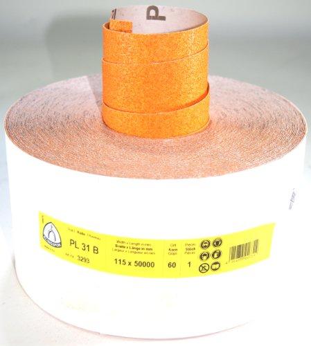 Klingspor PL31B-3293 Schleifpapier auf Rolle, 115 mm, K 60, 50 m, E 447 141