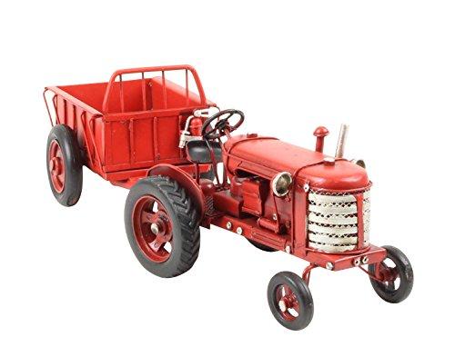Modelltraktor mit Anhänger Traktor Trekker Modell Auto Metall Antik-Stil 33cm