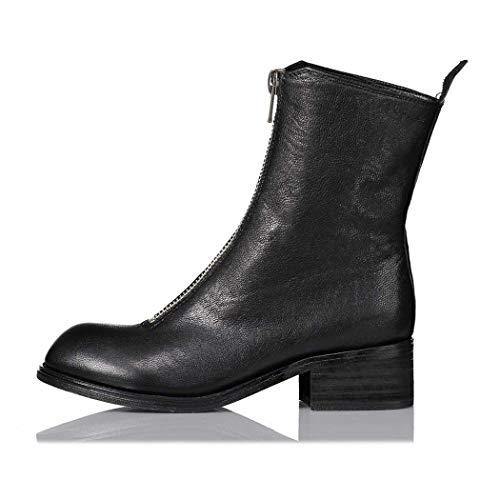 MISS&YG Schwarze Stretch-High-Heel-Damenstiefel Runden Kopf Über Die Knie Stiefel Nachtclub Sexy Rücken Reißverschluss-Plattform Stiefel,Black,39 - Womens Schwarz Knie Stiefel