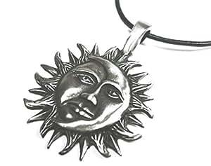 bkwear stm 15 Soleil et Lune Collier Pendentif Métal Étain 3.4 cm Chaîne en Cuir Noir 55 cm
