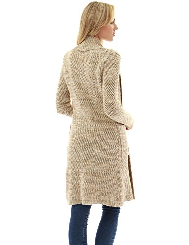 PattyBoutik Damen Offene Fronttasche mit Strickjacke beige und elfenbein