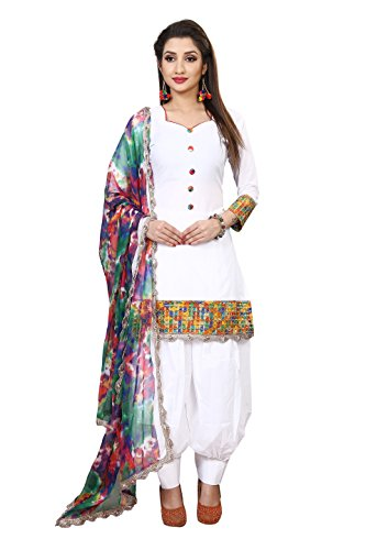 Spangel Fashion Women\'s Cotton Dress Material (White Patiala_New_12_White_Free Size)