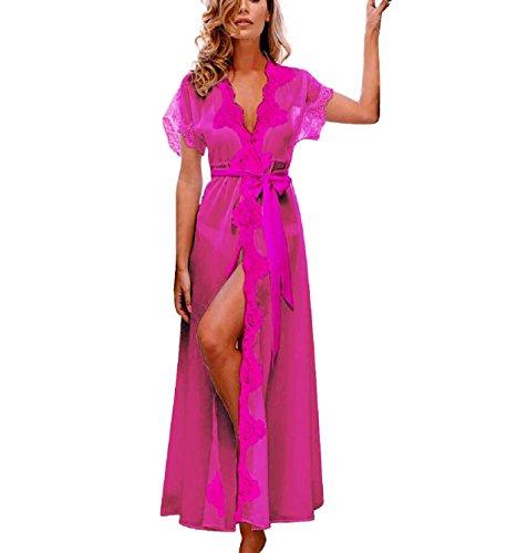 Mantel Rosa Heiße (Rosennie Damen Babydoll Extra langer Viskose-Bademantel Mantel Nachtwäsche Dessous Spitze Langarm Morgenmäntel (Asiatisch XXL, Heiß Rosa))