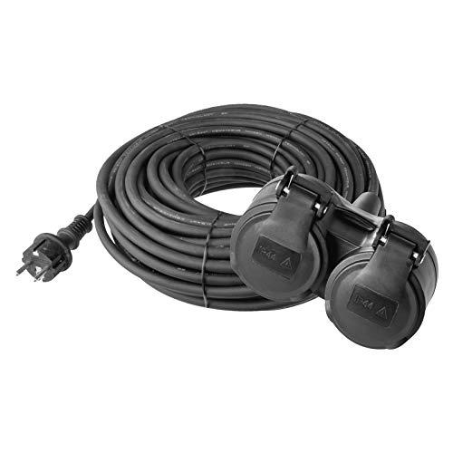 EMOS Verlängerungskabel mit 2 Schuko Steckdosen, 15 m, Doppel-Verlängerung, 2 Schutzkontakt Buchsen, Gummi-Kabel für den Außenbereich, IP44, H07RR-F3G 1,5 mm2
