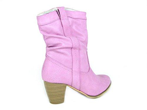 NEW Femme Mesdames cheville Cowboy avec talon bloc Basse Pixie Enterrement Fancy Dress Party bottes chaussures taille 345678 Rose