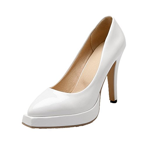 AgooLar Femme Pu Cuir Tire Couleur Unie Pointu à Talon Haut Chaussures Légeres Blanc