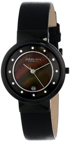 Johan Eric JE6000-13-007 - Reloj analógico de Cuarzo para Mujer, Correa de Cuero Color Negro