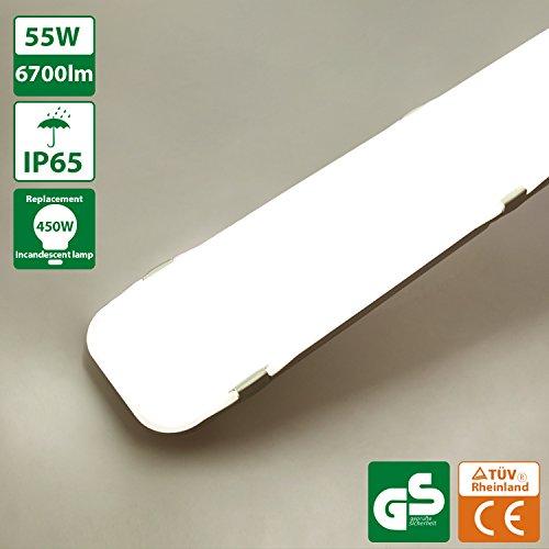 Oeegoo® LED Feuchtraumleuchte 150cm, 55W 6700lm (120Lm/W), IP65 Wasserfest Deckenlampe, Wannenleuchte, Wandleuchte, Garagenlampen, Bürodeckenleuchte, Werkstattlampen, Gartenleuchte 4000K