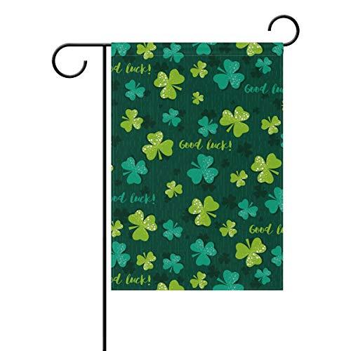 ASKYE Polyester Garden Flag Patricks Green Shamrock Clover House Banner for Wedding Party Outside Garden Yard Double Side Print(Size: 28inch W X 40inch H) Notre Dame Shamrock Green
