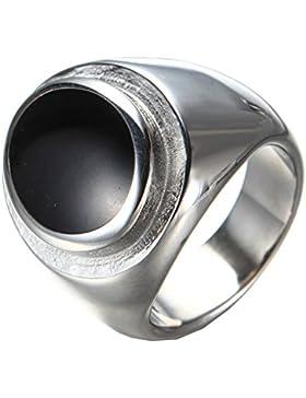 PMTIER Herren Edelstahl Oval Schwarzer Epoxy Siegel Ring