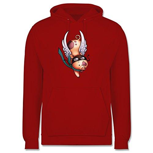 Sonstige Tiere - Fliegendes Schwein - Männer Premium Kapuzenpullover / Hoodie Rot