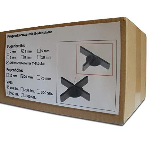 100 Stück SANPRO Niedrige Fugenkreuze 3 x 20 x 50 mm + 1 mm Boden/Bodenplatte