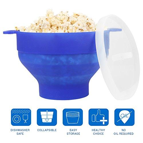Uvistar Recipiente para cocinar palomitas en MicroondasTazón de la palomitas de maíz Material de silicona y BPA libre ,Azul