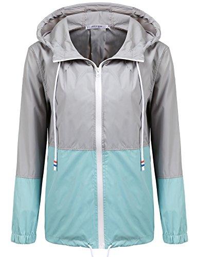 Damen Jacke Windbreaker Übergangsjacke Wasserabweisend Regenmantel Regenjacke mit Kapuze