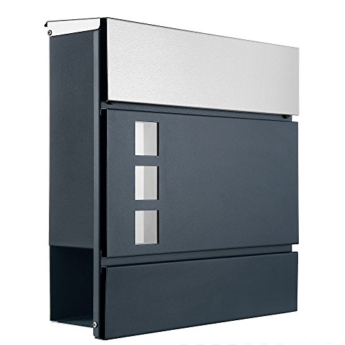 Designer Briefkasten / Mailbox / Edelstahl Modell 11-1ADE mit Sichtfenster und Zeitungsfach / NUR 1 x VERSANDKOSTEN FÜR ALLE BESTELLUNGEN ZUSAMMEN !