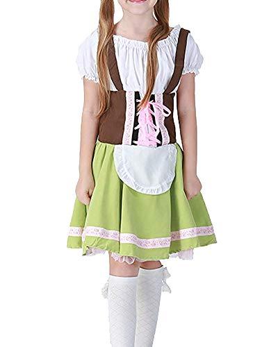Qiusa Mädchen Oktoberfest Kostüm Bier Maid Dress Beergirl Cosplay Uniform (Farbe, Größe : M)