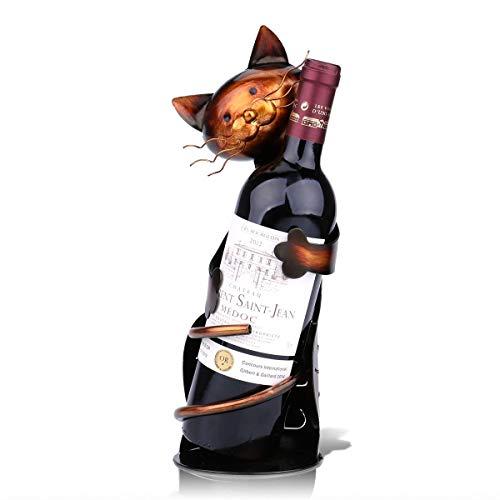 Yikuo Dekorationen -Creative Wein Weinregal Hauptdekoration Metall Desktop-Porch Bar Restaurant Dekoration Crafts Cat Hug Weinregal Eisen Wein Bronze-Rack Gut gemacht -